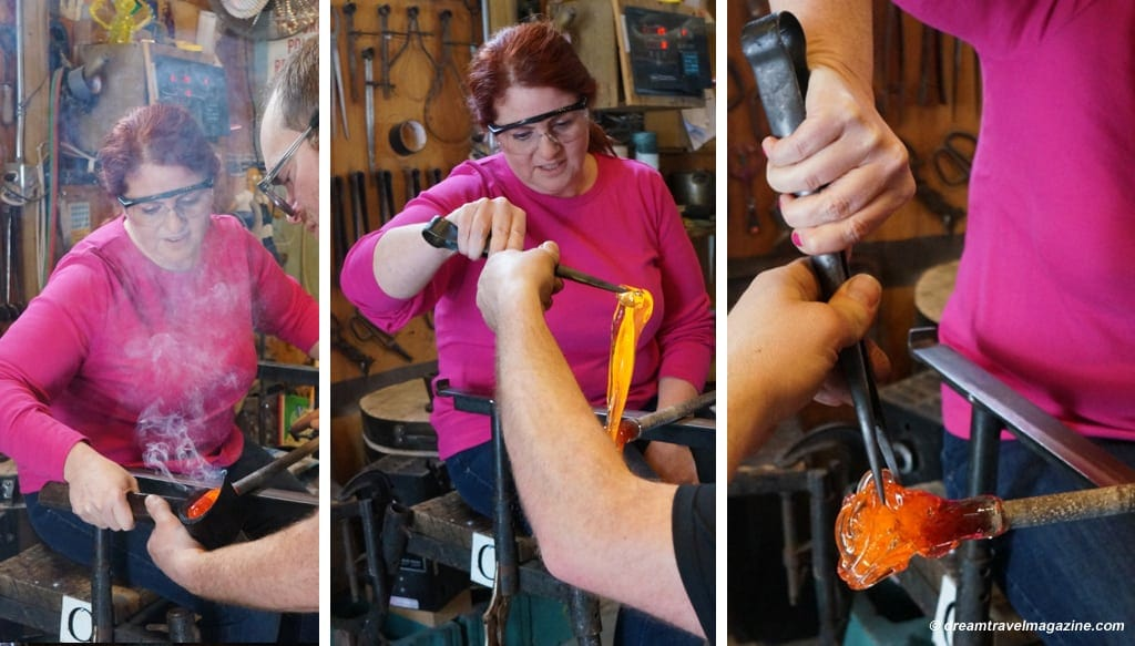 Glass-blowing-Artech-glass_Yours_outdoors_Haliburton_three steps