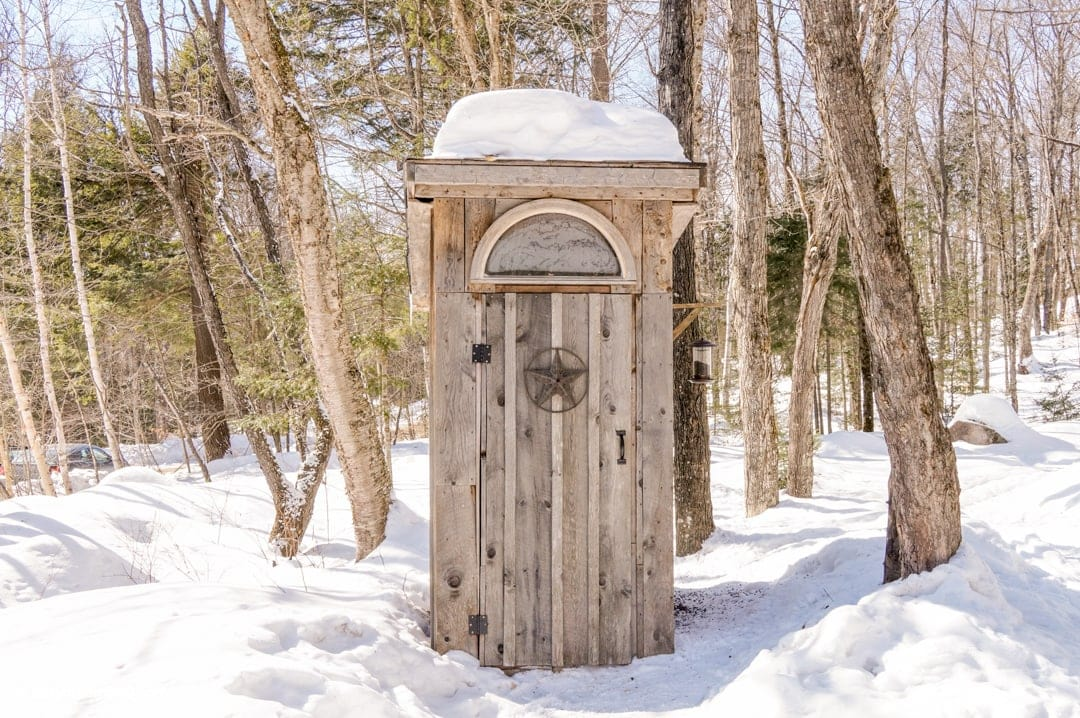 Outhouse at main meeting point Winterdance Dog Sledding