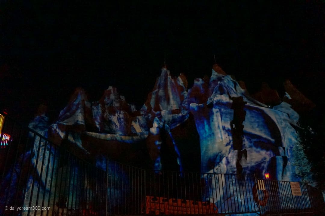 Creepy mountain with ghost images at Canada's Wonderland Halloween Haunt