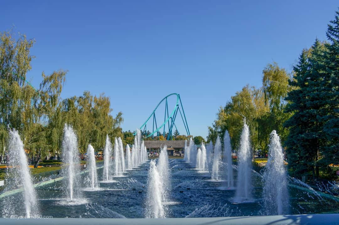fountain show during day at Canada's Wonderland