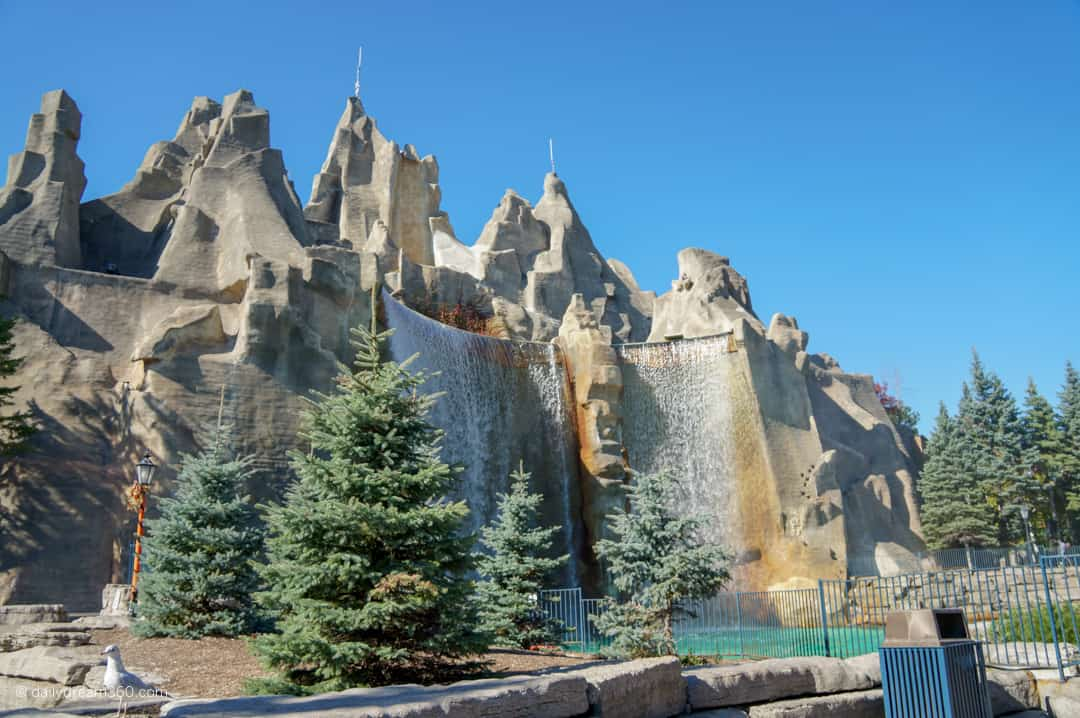 View of the falls at Canada's Wonderland Halloween Haunt - Thrilling Fun by Day, Scary Fun by Night