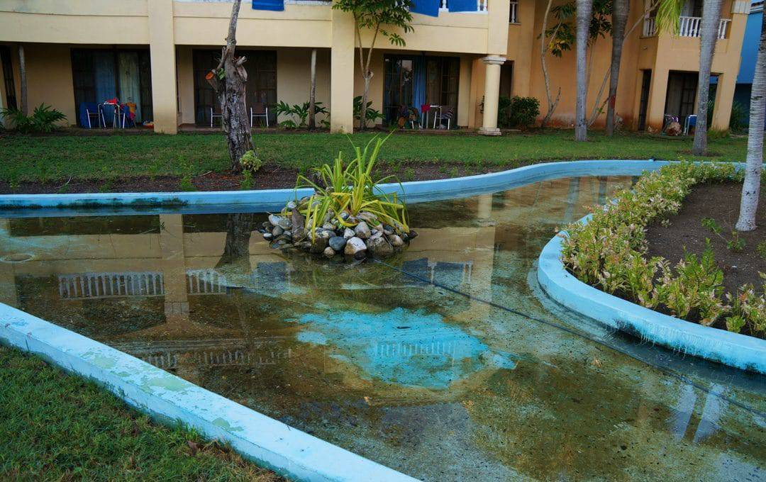 Water rivers filled with moldy green water at Review: Hotel Brisas Guardalavaca Cuba