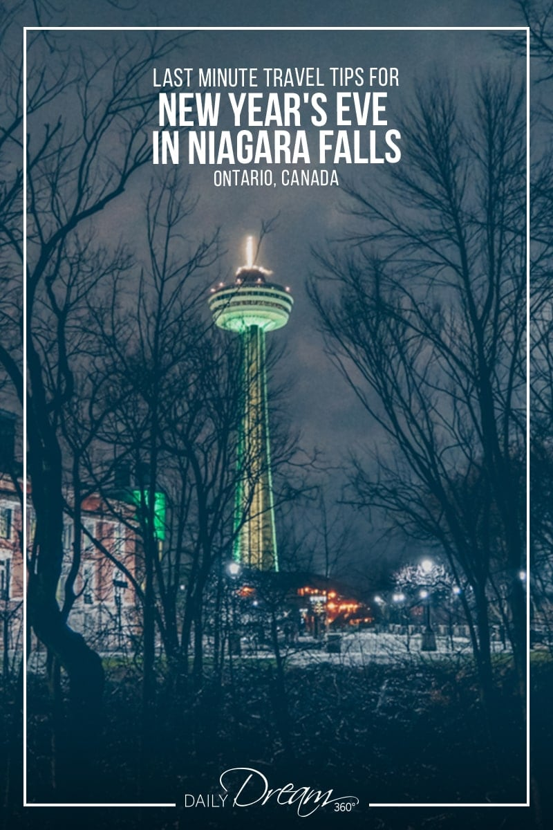Niagara Falls skylon tower behind trees in winter.