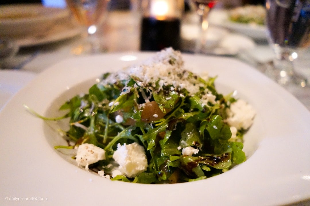 pear and arugula salad Garlics of London Restaurant