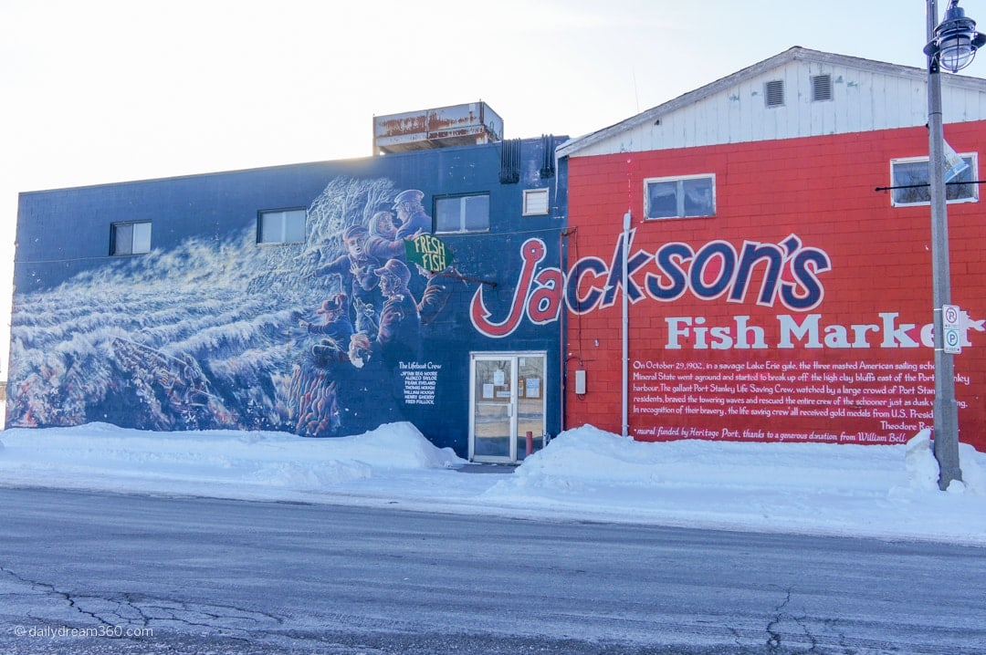 Mural at Jackson's Fish Market Port Stanley Ontario