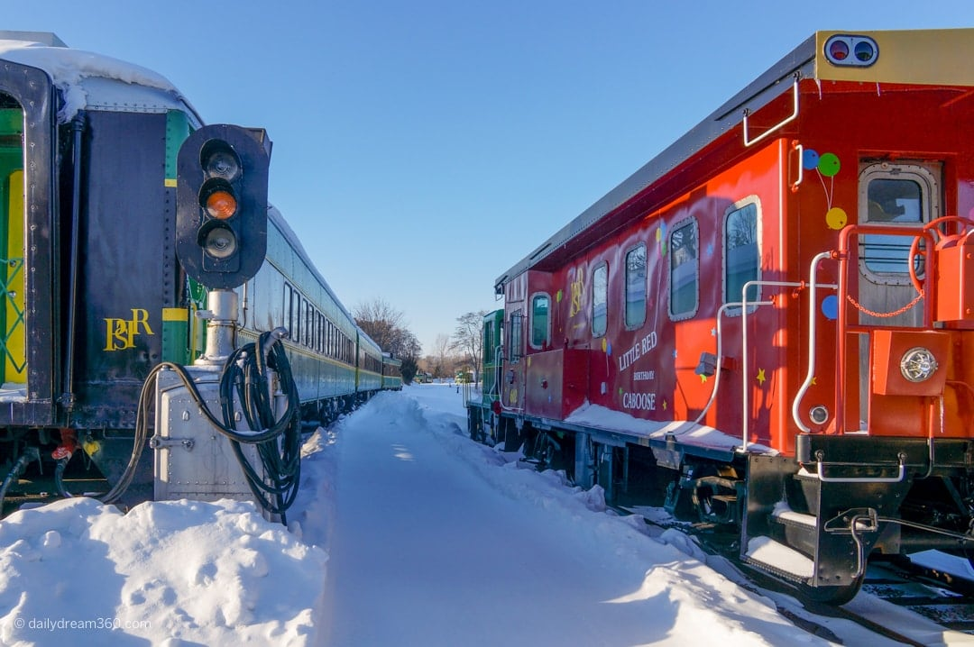 Trains sit on tracks during winter in Port Stanley