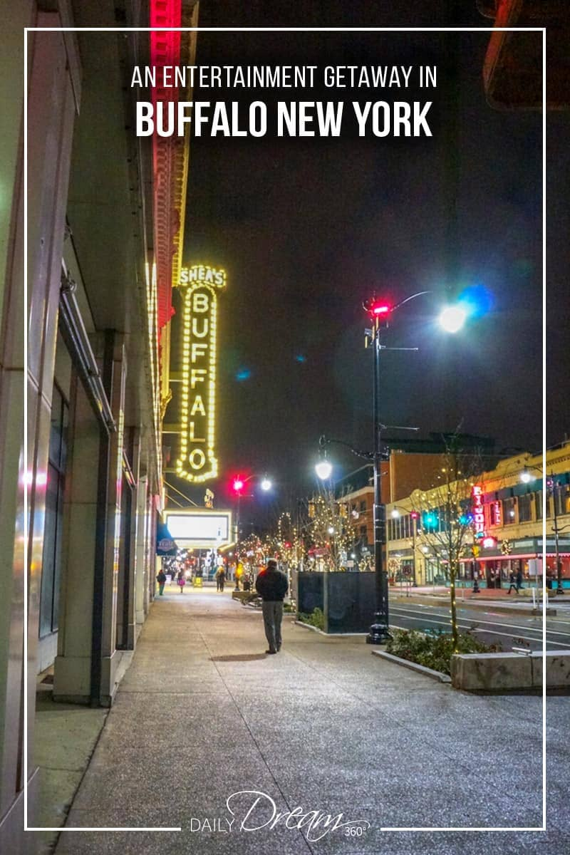 Looking for a fun weekend getaway? Buffalo New York is a great place to take in a Broadway show and enjoy a delicious fine dining dinner experience. In this post, we have some suggestions on what to see, where to eat and where to stay while in the city. | #Buffalo #theatre #sheas #entertainment #downtown |