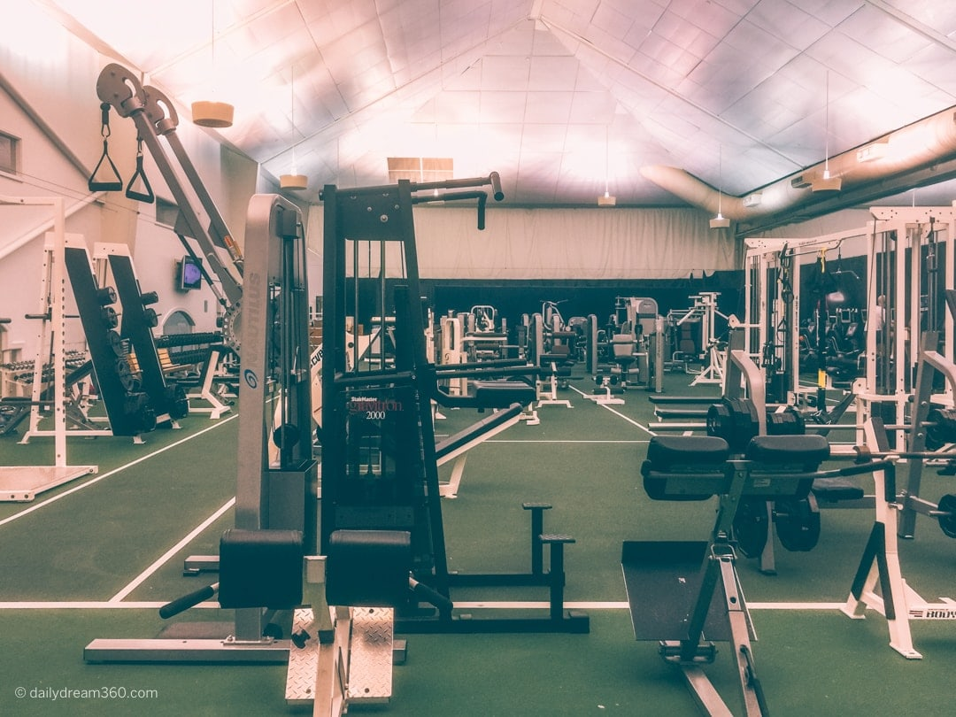 Weight room inside sports complex at Four Seasons Las Colinas
