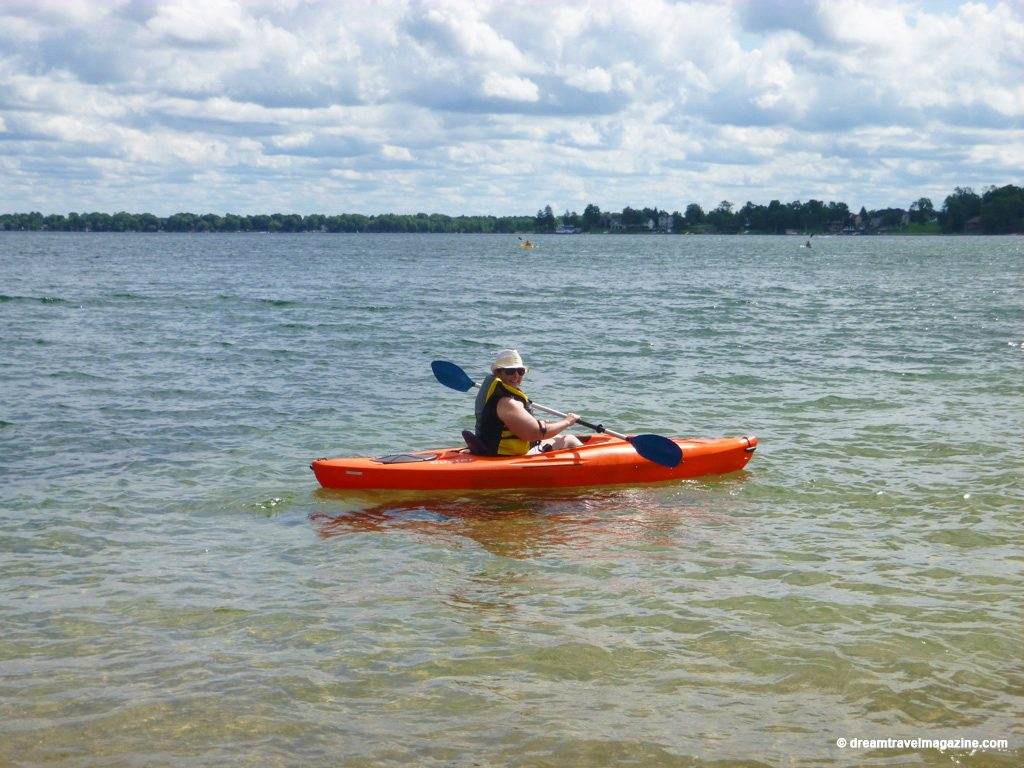 Me on kayak with Orillia A Breathe of Fresh Air kayak rentals orillia