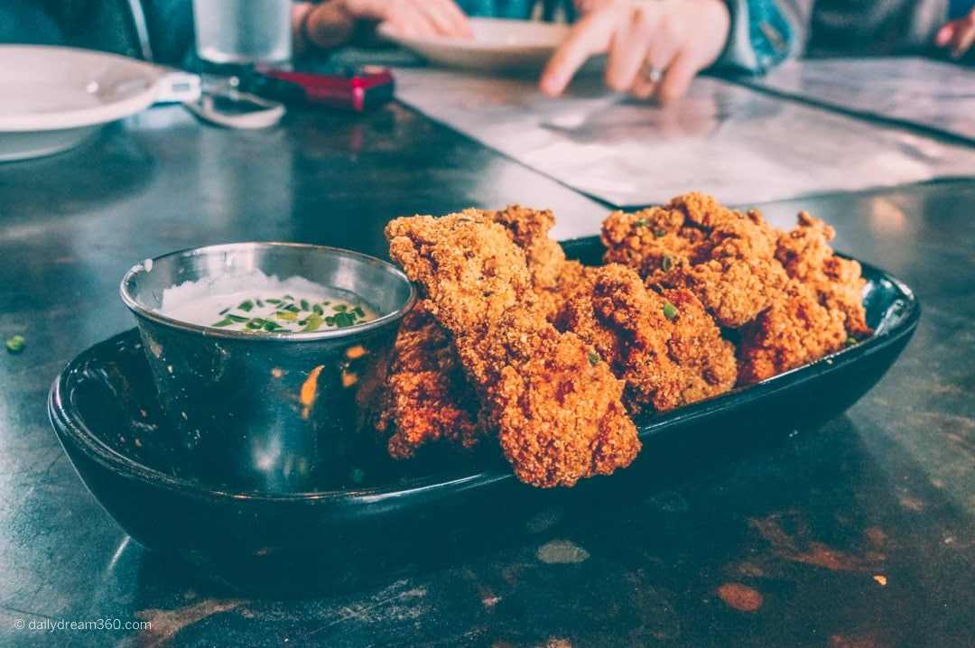 Calf fries with Buttermilk dip at the Rustic Dallas