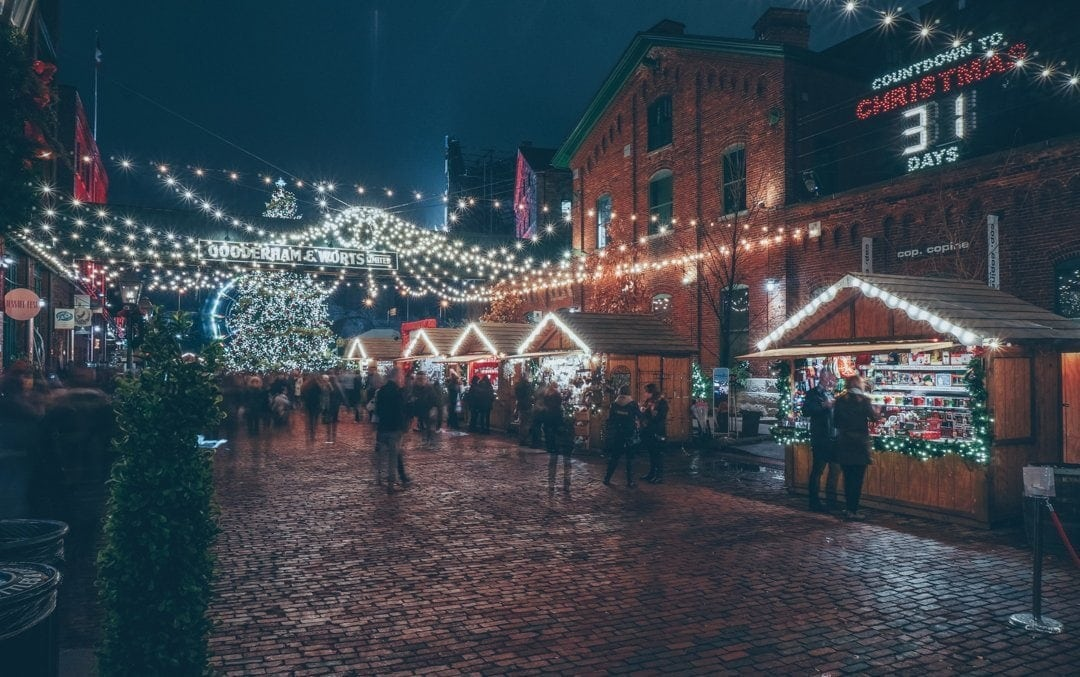 Holiday shops line street in Distillery District at Christmas Market