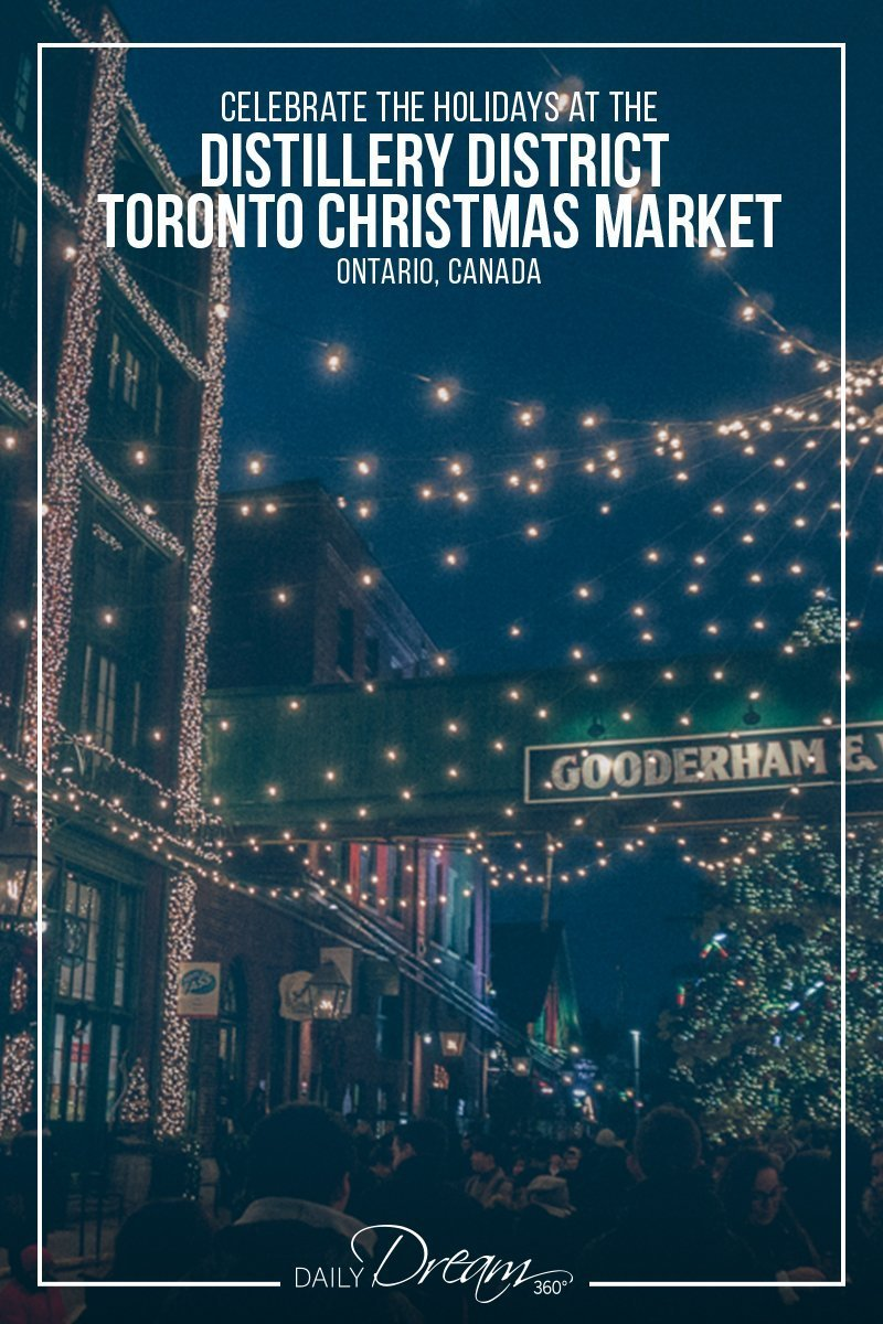 Lights cover the street and buildings in Distillery District at Toronto Christmas Market