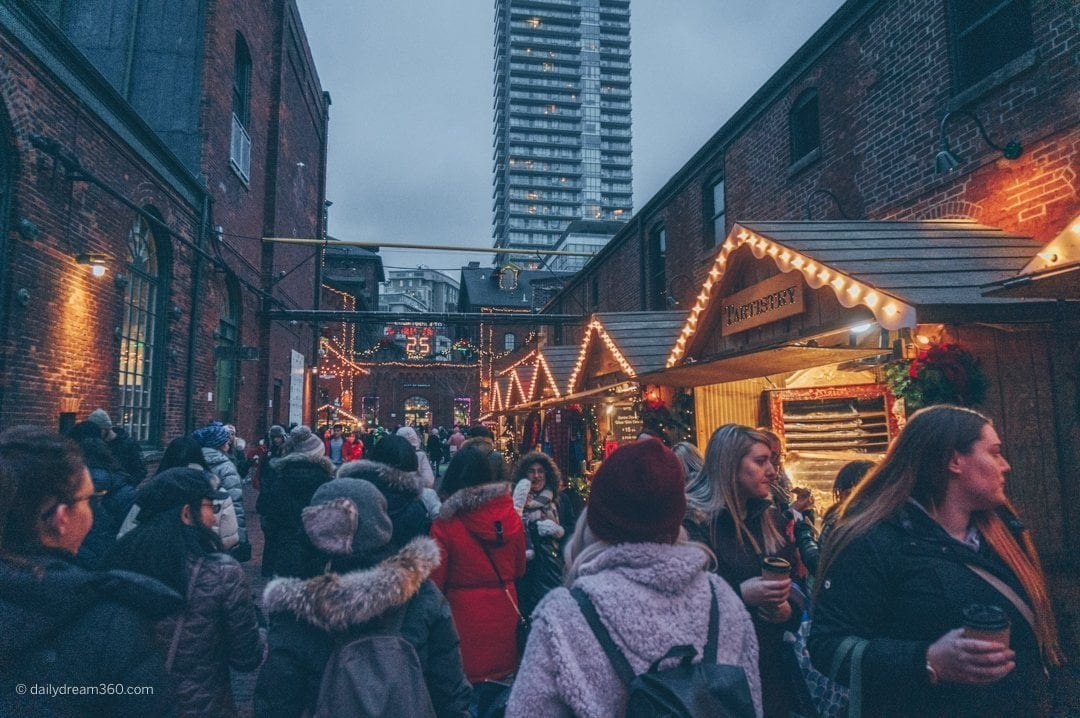 Crowded passages at Distillery Districts Toronto Christmas Market