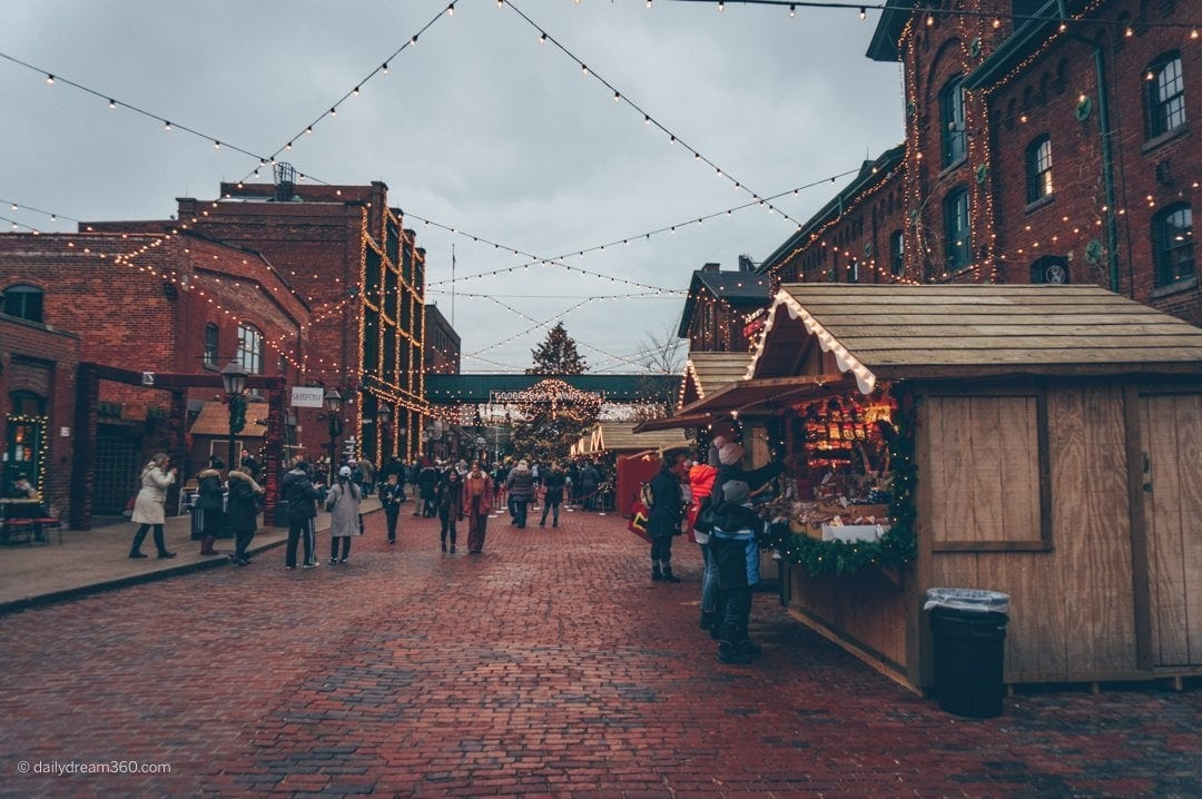 Main street in Distillery district during Toronto Christmas Market