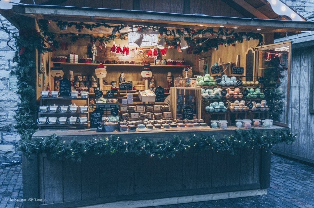 wooden hut with crafts inside at Distillery District Toronto Christmas Market