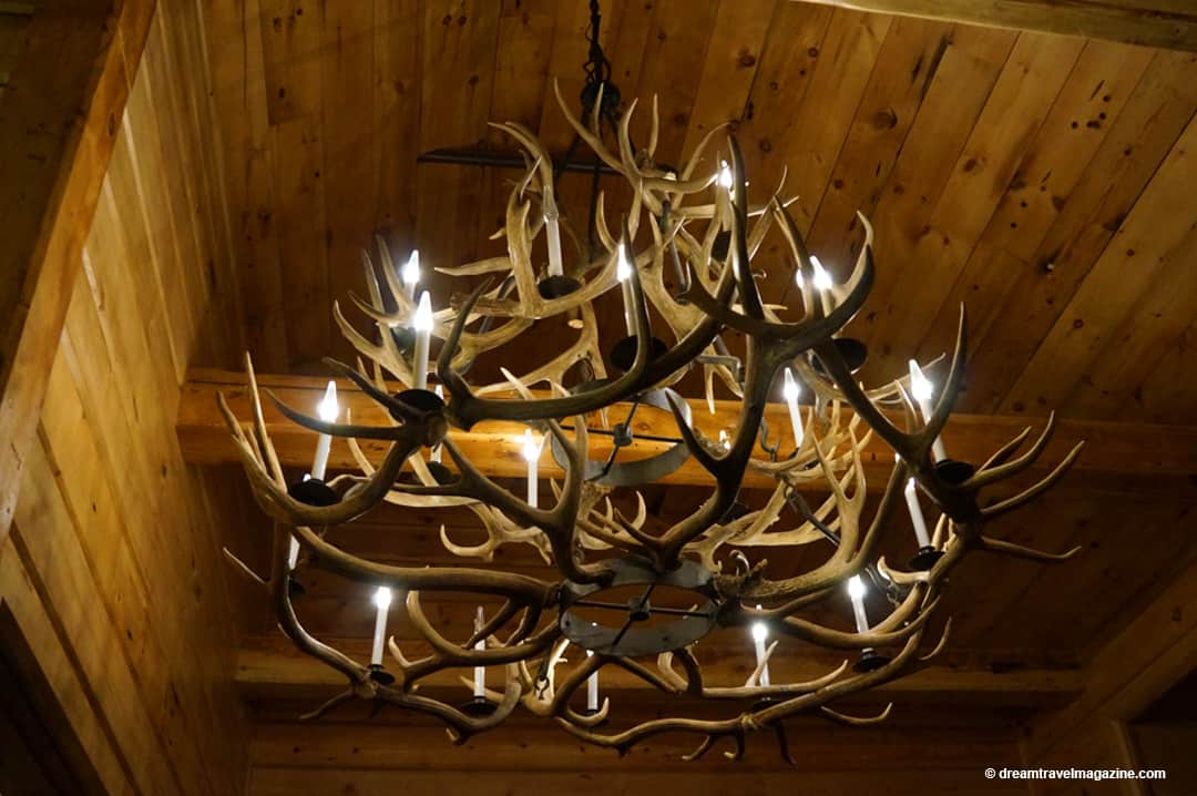 Antler Chandelier in room at Retro Suites Hotel in Chatham