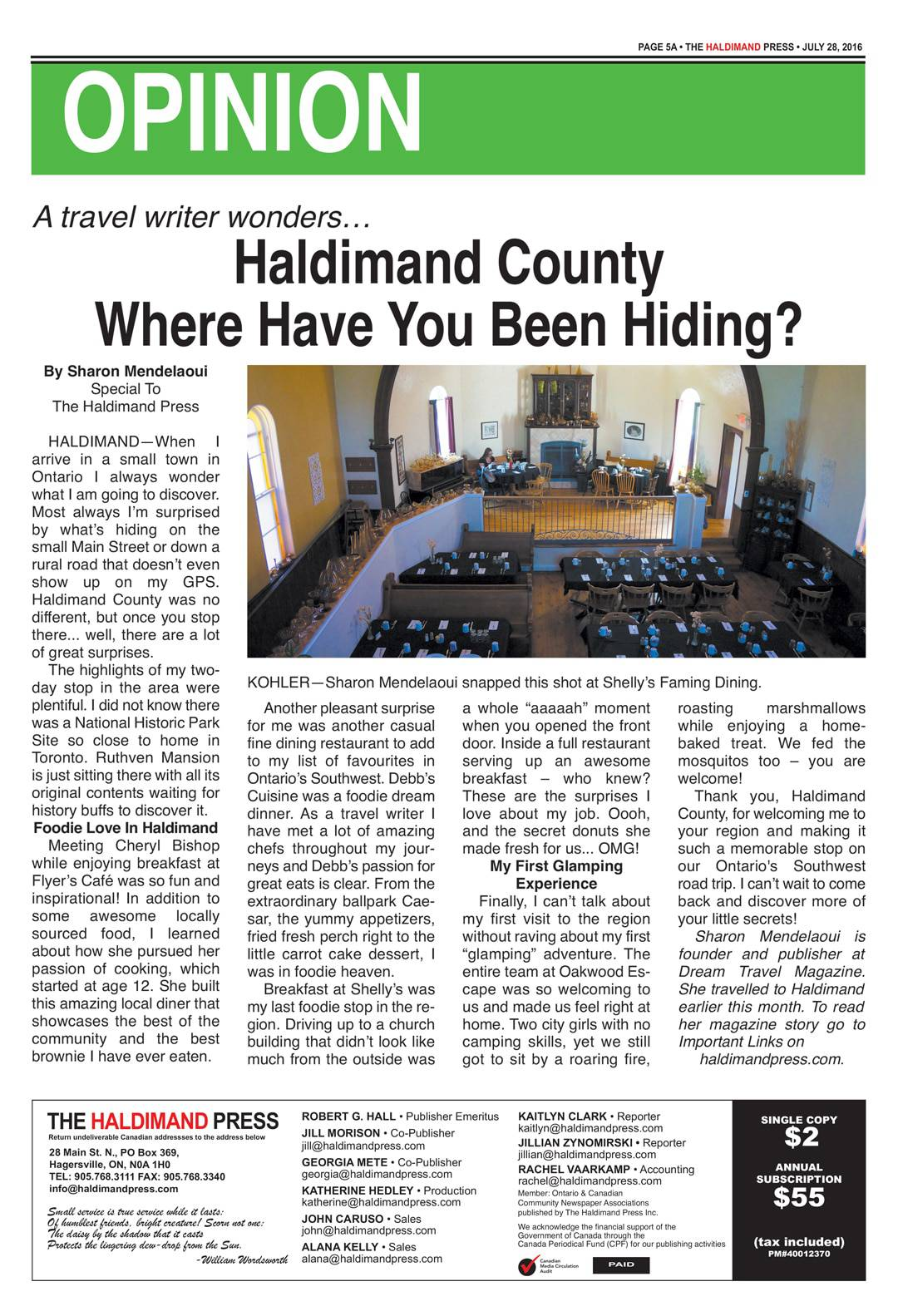 Sharon Mendelaoui Haldimand Press Article