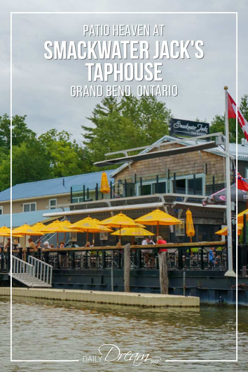 Looking for a great restaurant in Grand Bend Ontario? Smackwater Jack's Taphouse is located right on the channel waters for a breathtaking patio and dinner experience complete with a famous Grand Bend sunset. | #Ontario #Travel #DiscoverON #GrandBend #restaurant #beachvacation |
