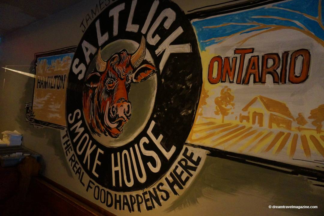 Inside restaurant sign Salt Lick Smoke House Hamilton Ontario