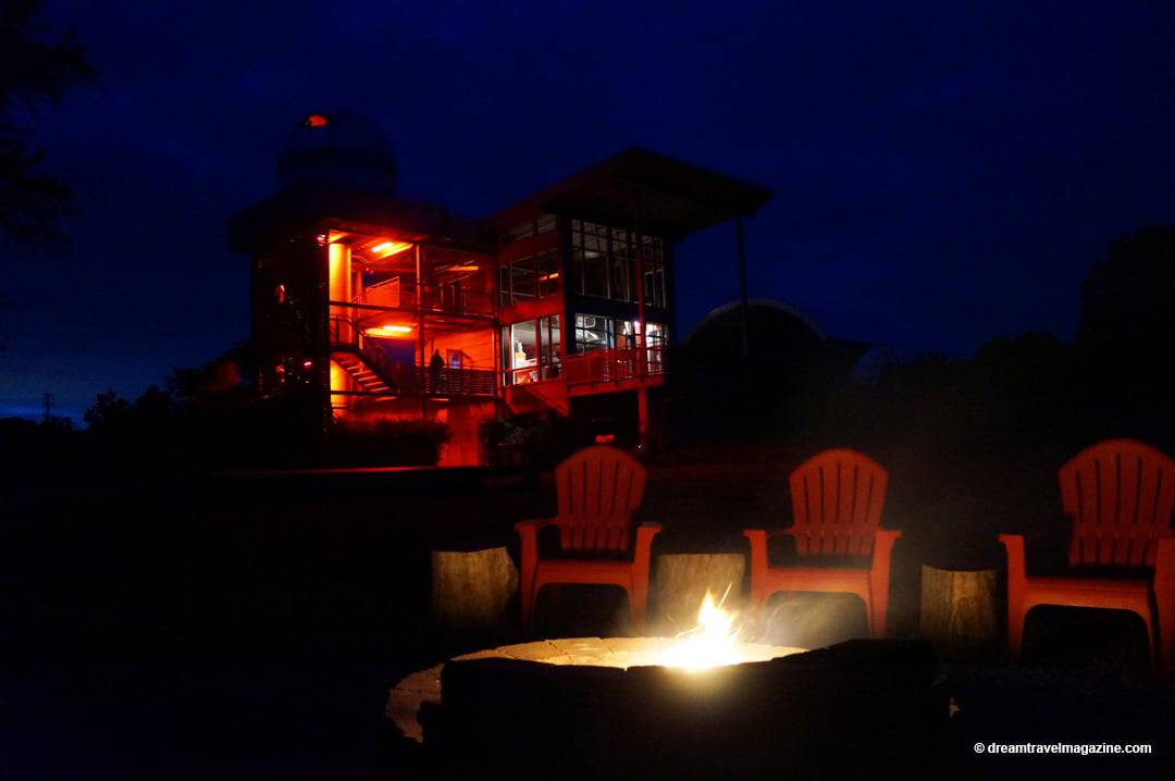Campfire and observatory at Long Point Eco-Adventures Luxury Glamping Turkey Point Ontario