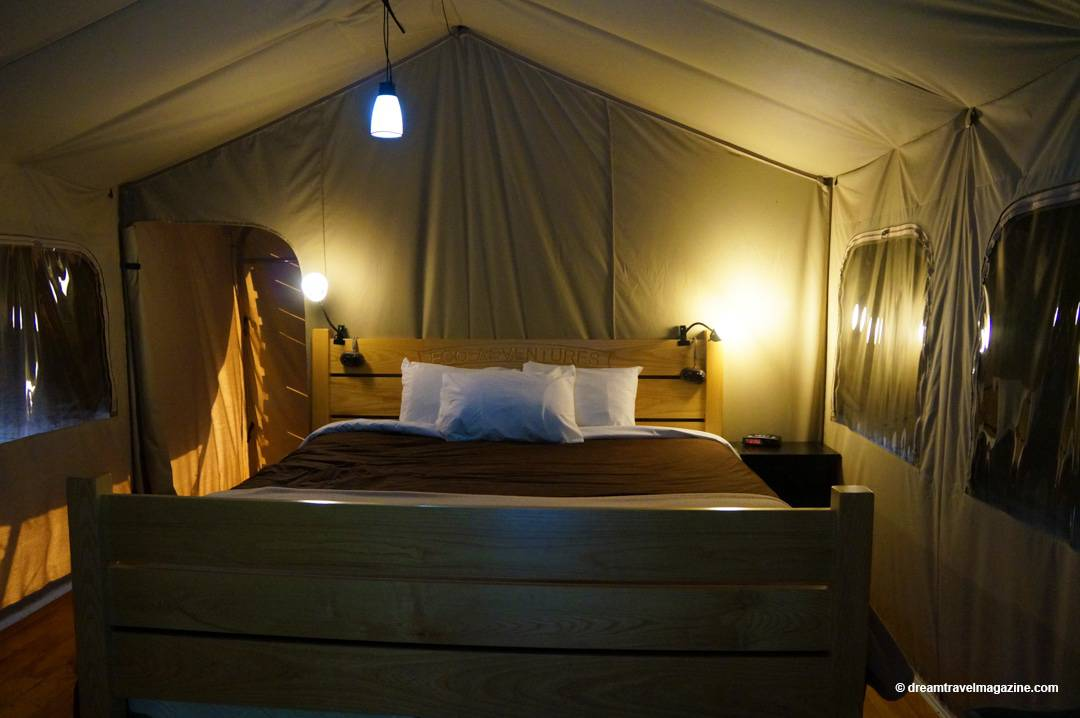 inside the wilderness tent at Long Point Eco-Adventures Luxury Glamping Turkey Point Ontario
