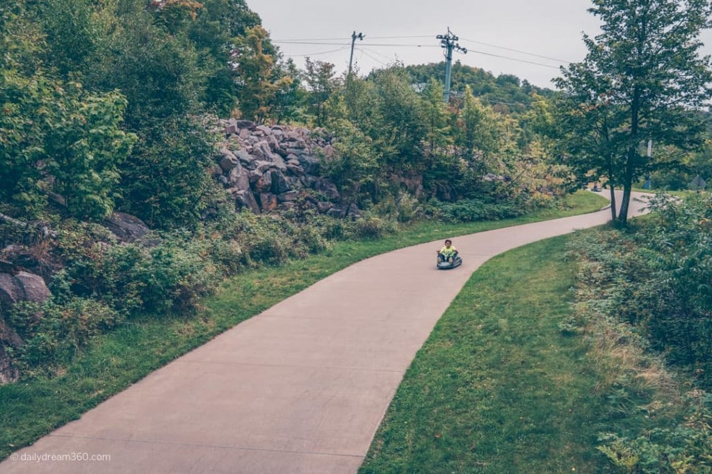 Luge Vehicle going down path on Mont Tremblant