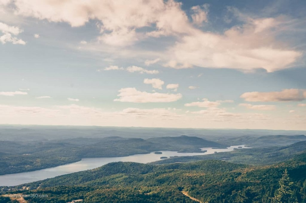 Autumn colours and view from observation tower atop of Mont Tremblant Quebec