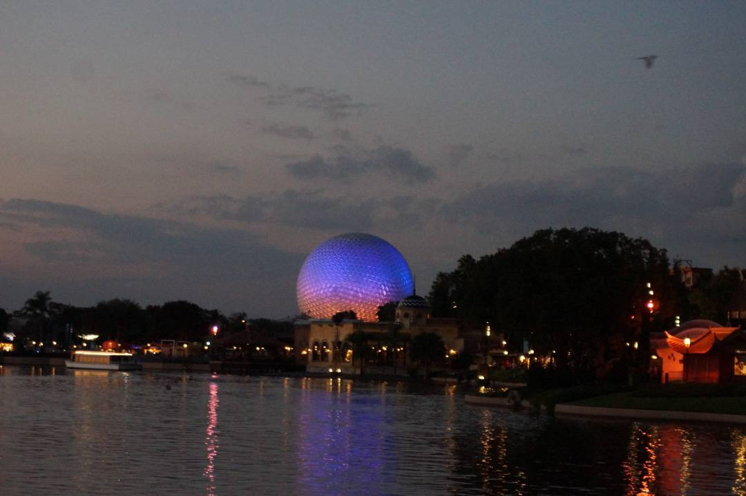 Epcot food and wine festival park at night