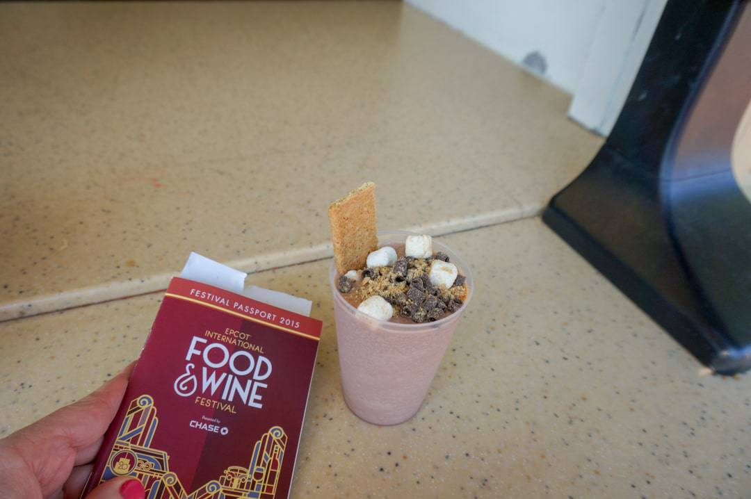 Epcot International Food and Wine Festival sampling a smores drink.
