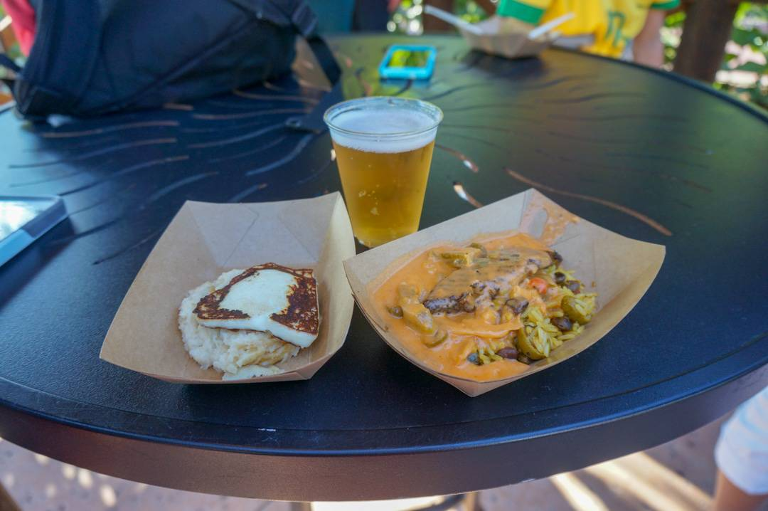 Sampling food at Epcot Food and Wine festival