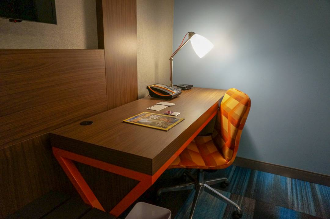 Desk in my room at Aloft Houston Downtown review