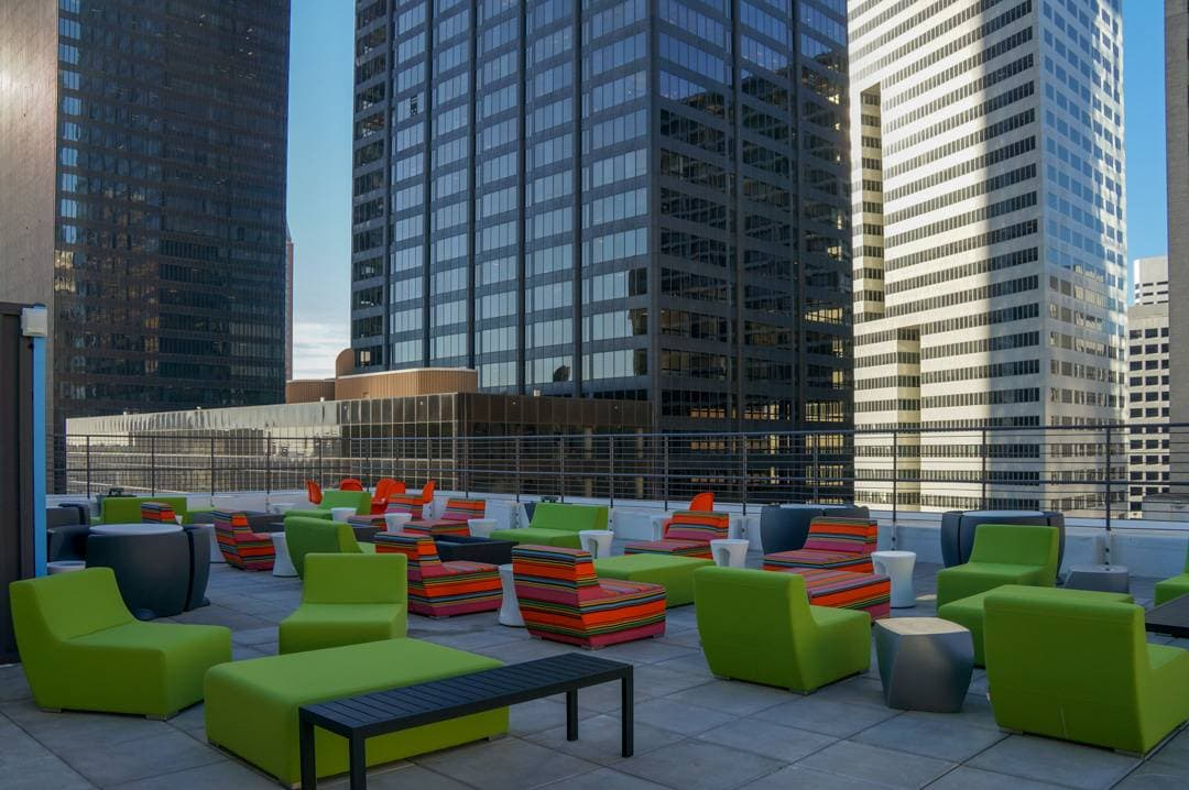 Rooftop lounge area at Aloft Houston Downtown review