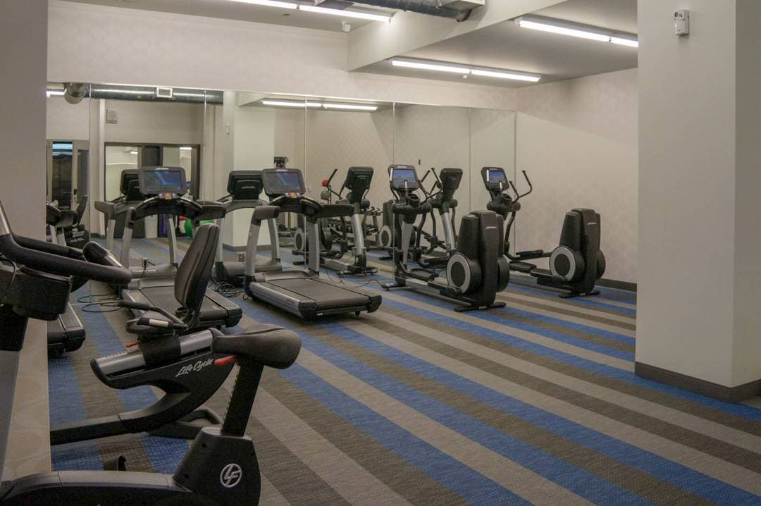 Fitness room at Aloft Houston downtown hotel