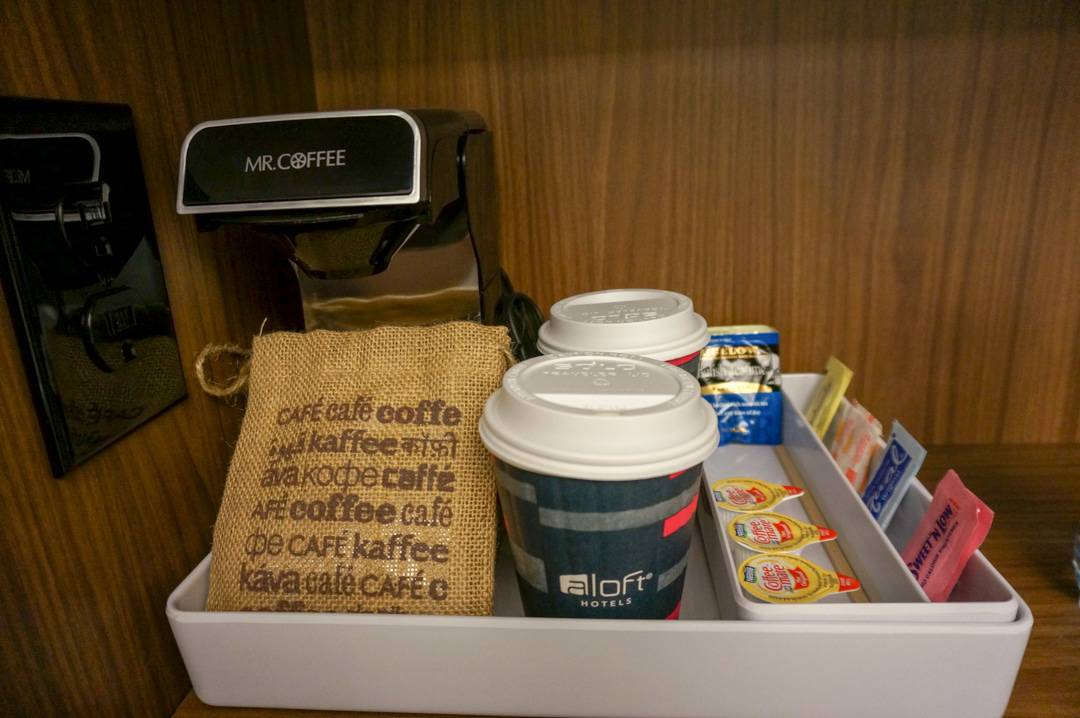 Coffee station in closet at Aloft Houston Downtown review