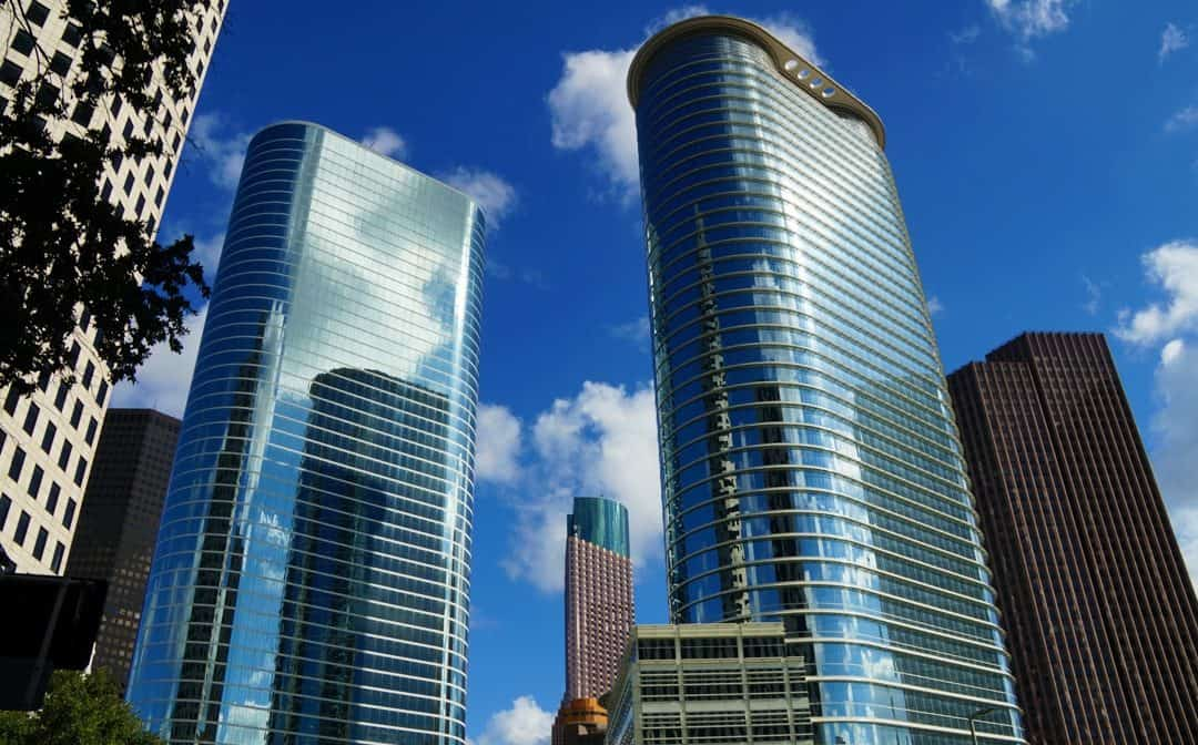 Two iconic buildings in Houston Texas exploring the city via greenlink bus