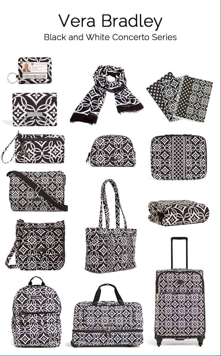 "Vera Bradley's Winter 2015 collection is the black and white pattern ""Concerto"". A travel style that goes with everything no matter what time of year it is."