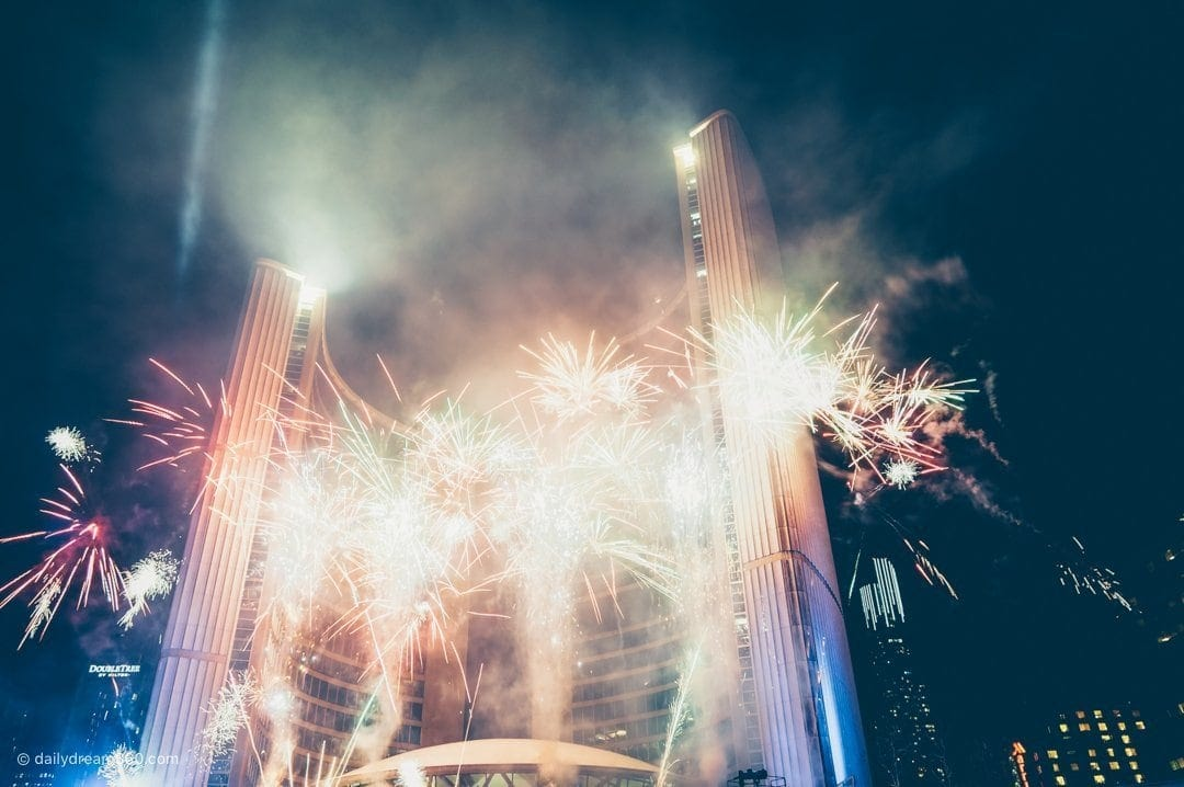 Fireworks in front of city hall in Toronto