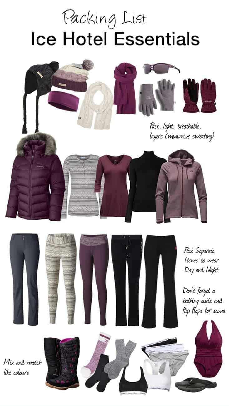Staying at an Ice Hotel this winter? Here's a packing list of items you will need to get you through the night.