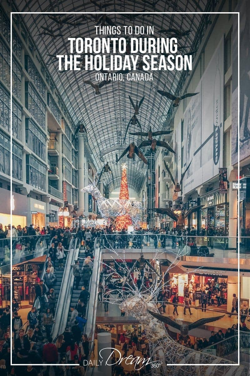 View inside the Eaton Centre in Toronto decorated for the Holiday Season