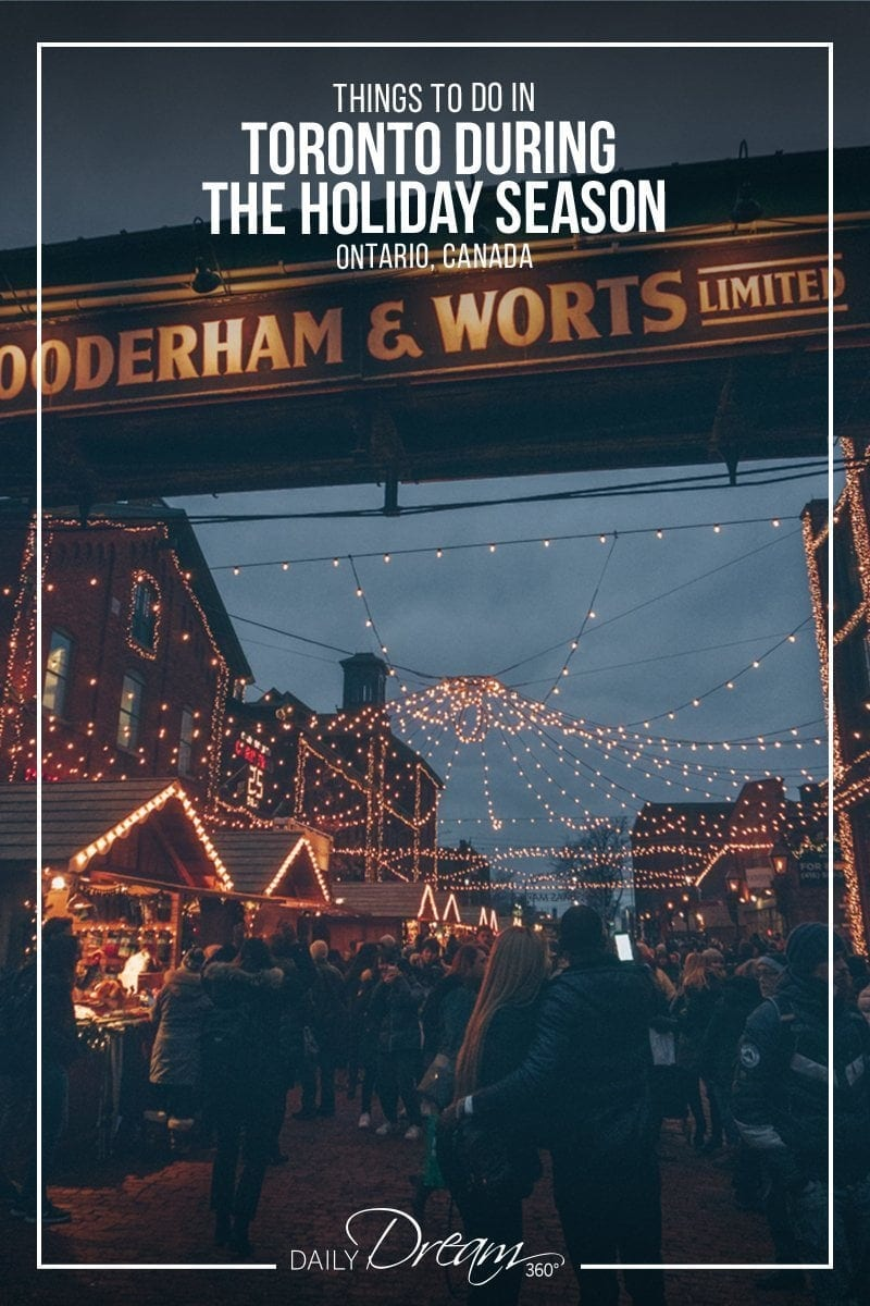 Distillery district lit up at night during Toronto Christmas Market