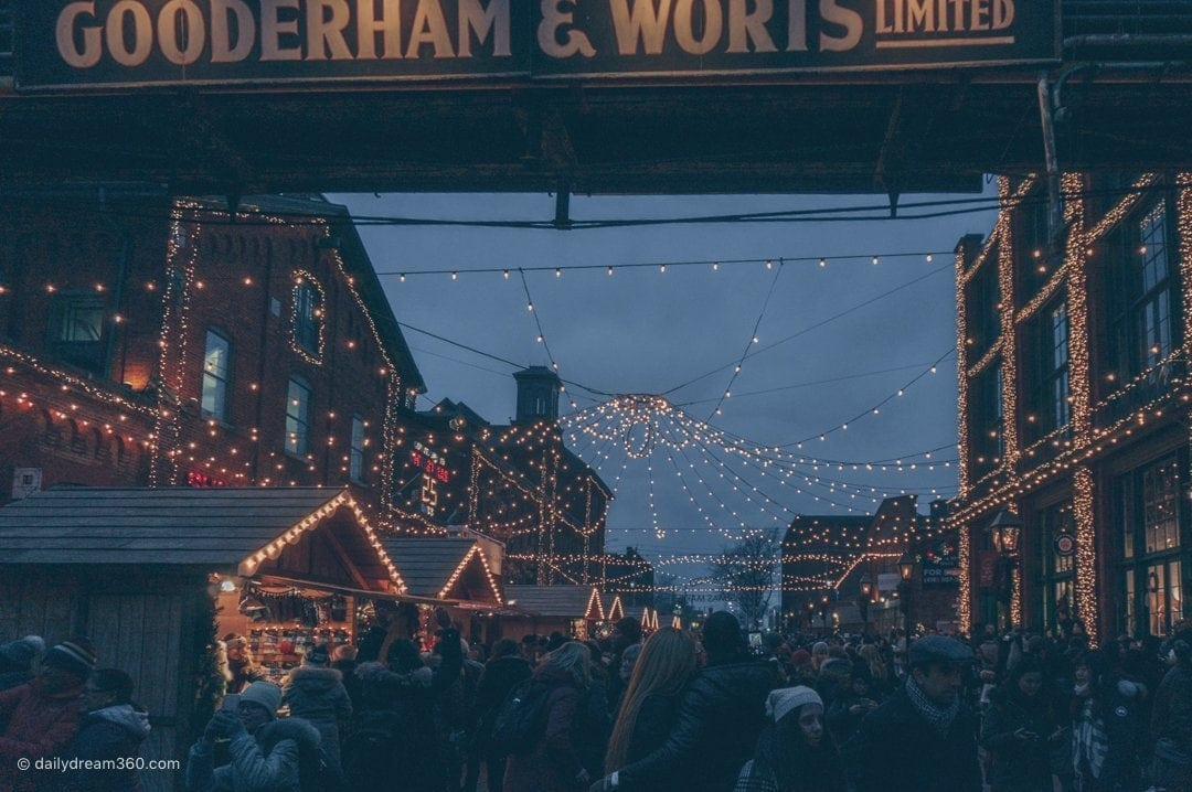 Night time at Distillery Districts Toronto Christmas Market