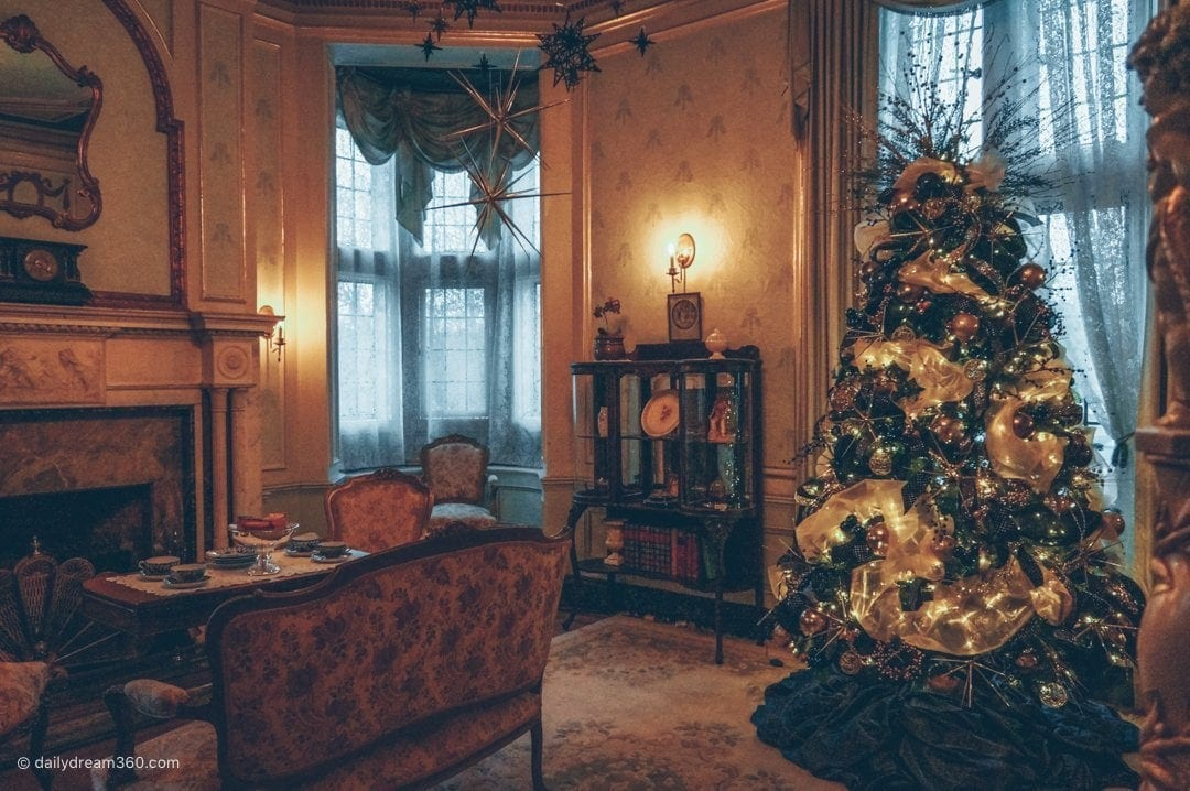 Holiday trees decorated inside room at Casa Loma Toronto