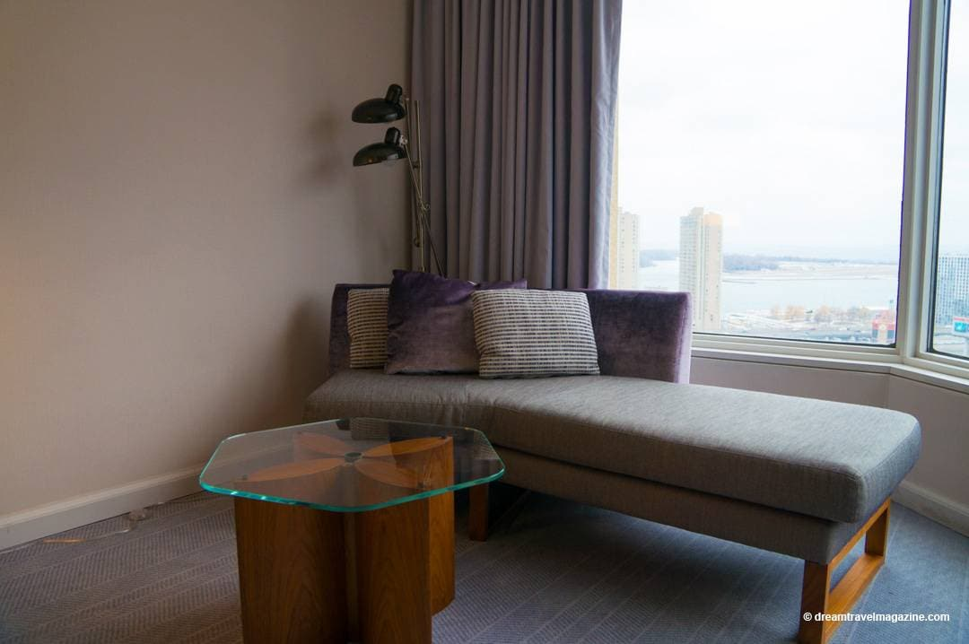 Chaise lounge and table provide a nice sitting area in the room Review Intercontinental Toronto Centre Hote