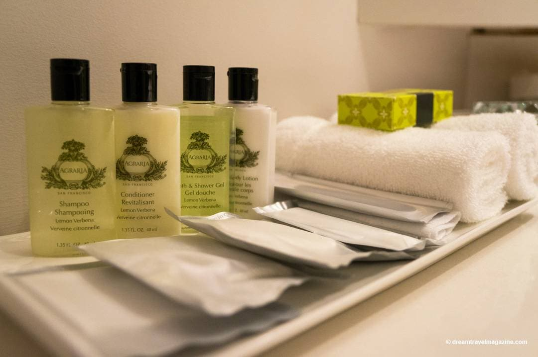 Toiletries, shampoo, conditioner, soaps, and more in Intercontinental Toronto Centre Hotel room