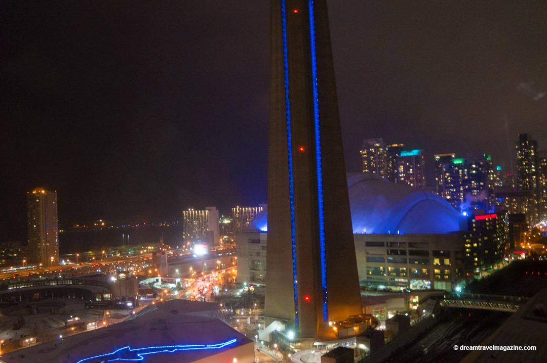 Night view of the city from hotel room at Intercontinental Toronto