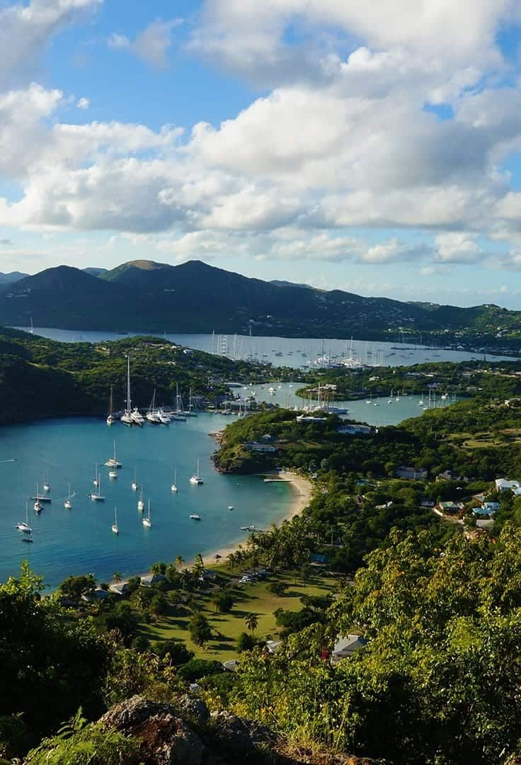 A look down to English Harbour from historic Shirley Heights. In this post we look at things to do with one day in Antigua. | Angtigua Barbuda | One Day Itinerary | Excursions | Attractions| Cruise Excursions |