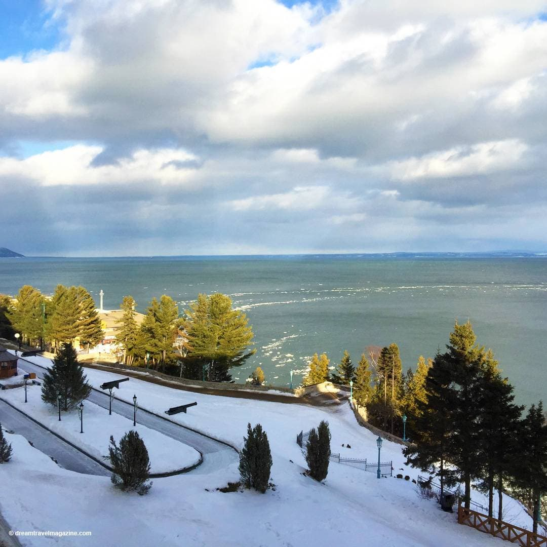 outdoor skating rink in front of St. Lawrence river at Fairmont Le Manoir Richelieu