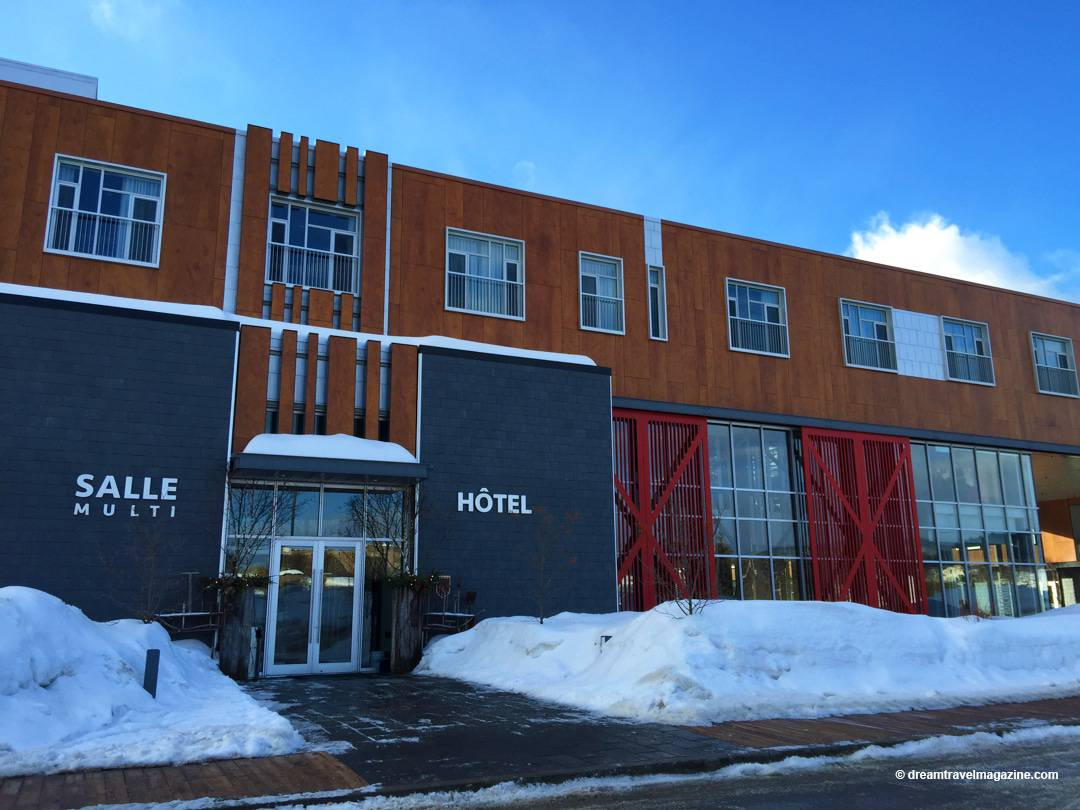 Front entrance of Le Germain Hotel Charlevoix in winter