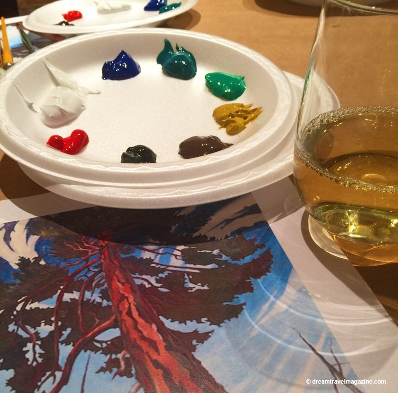 Wine, paints and a photocopy painting Painting Uncorked workshop Art Gallery of Hamilton Ontario