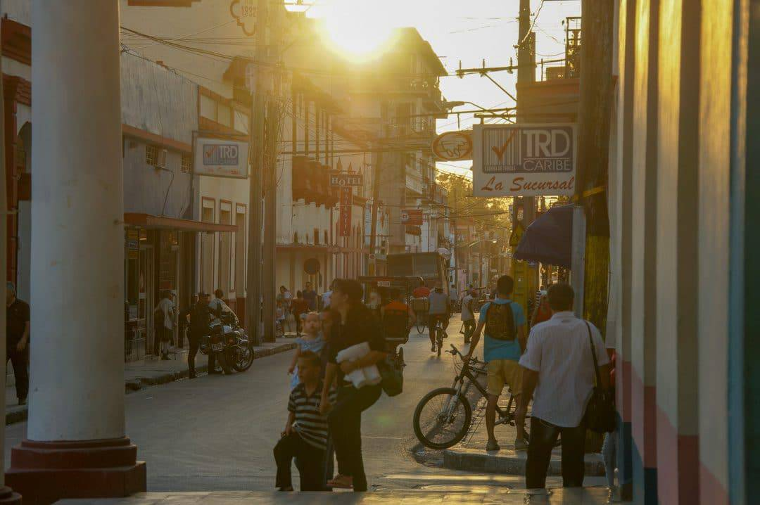 sunset on street Cuba Excursion Downtown Holguin Cuba